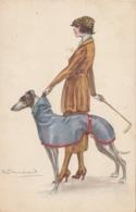 CPA Femme Lady Girl Donna Fräu Chien Dog Lévrier Greyhound Windhund Galgo Mode  Illustrateur S. BOMPARD (2 Scans) - Bompard, S.