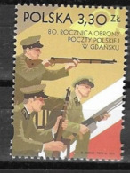 POLAND, 2019, MNH, WWII, 80 YEARS SINCE DEFENSE OF GDNASK POST OFFICE, SOLDIERS, 1v - WW2