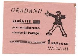 1950? YUGOSLAVIA, CROATIA, RADIO SLAVONSKA POZEGA, ADVERTISEMENT LEAFLET, CLUB RADIO POZEGA - Advertising