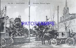 124139 CHILE SANTIAGO ALAMEDA PARQUE INGLES & CARRIAGE A HORSE POSTAL POSTCARD - Cile