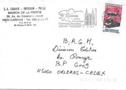 2450 - CARHAIX PLOUGUER -  Centre économique, Commercial, Touristique Au 2-2-87 - Postmark Collection (Covers)