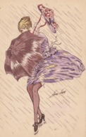CPA Aquarellée Femme Lady Girl Donna Fräu Bas Giboulées Parapluie Pépin Pébroque Illustrateur X. SAGER (2 Scans) - Sager, Xavier