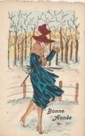 CPA Aquarellée Femme Lady Girl Donna Fräu Bonne Année Mode Chapeau Hat  Illustrateur (2 Scans) - Illustrateurs & Photographes