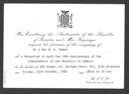 Zambia - 18th Anniversary Of The Independence - Ambassador Invitation Brussels / Bruxelles - Zambia