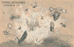 CPA Allemagne Kaiser Gillaume II Caricature Satirique Pièces Détachées Canon Modèle 75  Illustrateur P. CARRERE 2 Scans - Patrióticos