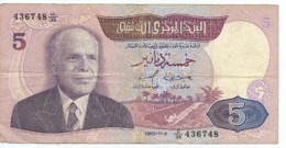 Banknote Tunesien 5 Dinar 1983 Banque Centrale De Tunisie - Tunesien
