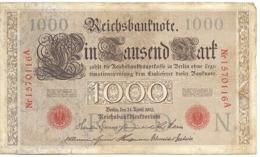 Reichsbanknote 1000 Mark, 1910 - [ 2] 1871-1918 : German Empire