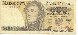 Alte Banknote Polen 500 Zloty, 1982 - Polen
