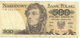 Alte Banknote Polen 500 Zloty, 1982 (2) - Polen