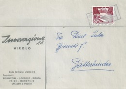 "Motiv Brief  ""Innovazione SA, Airolo""  (Bahnstempel)          1960 - Zwitserland"