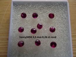 Lot De 1 Rubis Rouge Taille Ronde 3,5 Mm 0,26 Carat Pierre Précieuse Joaillerie Dit De Synthèse - Ruby