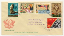 GHANA - Sauvez Les Monuments De Nubie - 5 Valeurs Sur FDC - 1er Nov 1965 - Archaeology