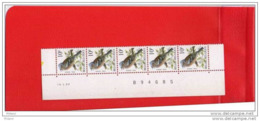 BUZIN, BANDE DE 5 DATEE ** MNH, STROOK VAN 5 MET DATUM, 14.01.1992, S 2 F. - 1985-.. Birds (Buzin)