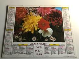 Calendrier - Almanach Du Facteur RHONE - 1973 - Colombes / Fleurs - Kalenders