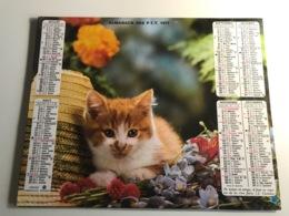 Calendrier - Almanach Du Facteur AIN - 1977 - Chat / Chiens - Kalenders