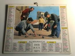 Calendrier - Almanach Des P.T.T  RHONE - 1971 - Cannes Et Le Suquet / Partie De Petanque Au Luberon - Kalenders