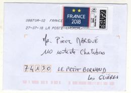 Enveloppe FRANCE Avec Vignette D' Affranchissement Lettre Verte Oblitération LA POSTE 08870A-02 27/07/2018 - 2010-... Illustrated Franking Labels