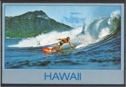 United States, HI,Diamond Head And Surfer At Waikiki Beach, 1985. - Oahu