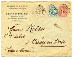 SEINE De CLICHY LA GARENNE Dateur R01 Du 27/09/1905 Sur Env. En T^te QUATREVAUX Fils Commerce De Bois - Storia Postale