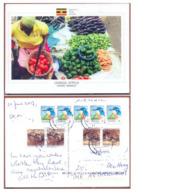 UGANDA Postally Used Postcard OWINO MARKET At Kampala To The Netherlands Bird & Snake Stamps OUGANDA - Oeganda (1962-...)