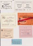 Lot 16 Tickets Visites Sites Touristiques Musées Abbayes... ITALIE ITALIA Ingresso Biglietto Biglietti Turismo - Tickets - Entradas