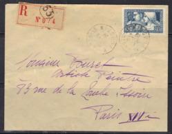 """Caisse D'amortissement """"Le Travail"""" N°252, Seul Sur Enveloppe Recommandée, 1928. - 1921-1960: Periodo Moderno"""