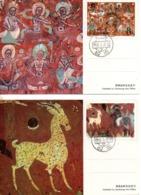CHINE. N°2827-30 De 1987 Sur 4 Cartes Maximums. Fresques Bouddhiques De Dunhuang. - Buddismo