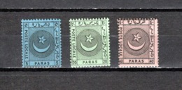 Turquía   1865  .-   Y&T  Nº   1/3   Servicio  Interior   ( Lianos Y Cía  ) - Sellos De Servicio