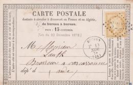 Yvert 59 Cérès Carte Précurseur ROUJAN Hérault 19/11/1874 GC 3225 à Carcassonne Aude - Cartoline Precursori