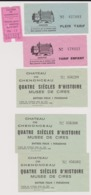 Lot Tickets Visites Châteaux D'Amboise Et Chenonceau - Tickets - Entradas