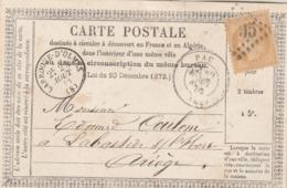 Yvert 59 Cérès Carte Précurseur Type Modèle 1 PAU Basses Pyrénées 29/8/1873 à Labastide S Hers Larroque D'Olmes Ariège - Postwaardestukken