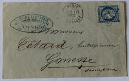Courrier 1874 à L'Orme Saint Gervais Gautier Frères Taillanderie 20 Rue Du Temple Cétard Gonesse Timbre Céres 20c N°37 - 1800 – 1899