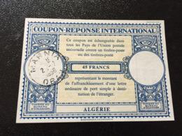 ALGERIEN INTERNATIONALER ANTWORTSCHEIN MARNIA ORAN 1958  45 FRANCS - Algerien (1962-...)