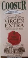 ACEITE DE OLIVA VIRGEN EXTRA SIN FILTRAR COOSUR. ETIQUETA NUEVA - MINT. - Etiquetas