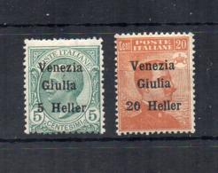 Italia - Venezia Giulia - 1919 - 2 Valori Sovrastampati Venezia Giulia E Nuovo Valore In Heller - Nuovi * - (FDC18361) - Venezia Giulia