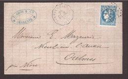 CHARENTE Convoyeur Station Tonnay Charente → Vendée 1871 20c Bordeaux - Marcophilie (Lettres)