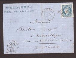 CHARENTE Em. Bordeaux 20c PERCÉ EN LIGNE Marennes → Port D'Envaux - Marcophilie (Lettres)