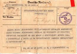 """(2WK-3) Deutsche Reichspost Telegramm An Den Ortsgruppenleiter Der NSDAP Breslau """"Gefallenenanzeige"""" - Briefe U. Dokumente"""