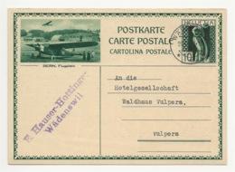 """Schweiz Suisse 1931: Bild-PK / CPI """"BERN, Flugplatz"""" Mit O WÄDENSWIL 29.VII.31 Nach Vulpera - Entiers Postaux"""