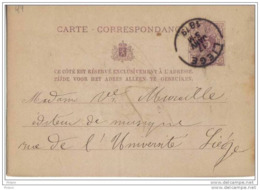 Entier Postal De LIEGE 1879.  LOT49 - Postcards [1871-09]