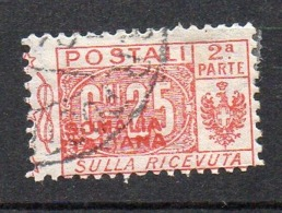 Somalia 1926 Pacchi Sovrast. N. 33  (25 Cent Rosso)  Timbrato - Somalië