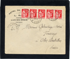 LETTRE 2° ECHELON POUR SUISSE  AFFRANCHIE BANDE DE 5 PAIX N°283  DU 9/1/1937 - 1932-39 Peace