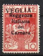 1920 Veglia Sovrastampato Caratteri Grandi N. 2  10 Cent Carminio Senza Gomma (*) - 8. WW I Occupation