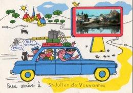 Saint Julien De Vouvantes Bien Arrivés Photo + Illustration Famille En Voiture - Saint Julien De Vouvantes