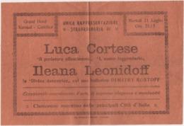 Cattolica (Rimini), Grand Hotel Kursaal: Volantino Con Reclame Di Una Rappresentazione Teatrale. Anno 1925 - Manifesti