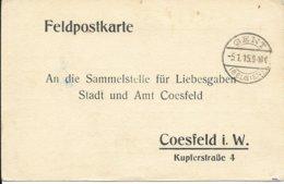 Feldpostkarte Van Gent Naar Coesfeld - Guerre 14-18