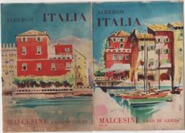Depliant Turistico Pieghevole 8 Facciate Dell'Albergo Italia Di Malcesine (Verona, Lago Di Garda) - Dépliants Turistici
