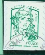 858 France 2013 Adhésif Marianne Verte 20g Cachet à Date - Adhésifs (autocollants)