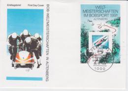 Germany FDC 1991 Weltmeisterschaften Bobsport Souveni Sheet - Berlin   (G105-20) - Wintersport (Sonstige)