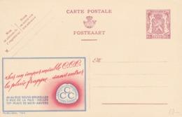 BELGIO - STORIA POSTALE NON VIAGGIATA - BELGIO - INTERO POSTALE 65 C. - SUR UN IMPERMèSBLE C.C.C. - Stamped Stationery